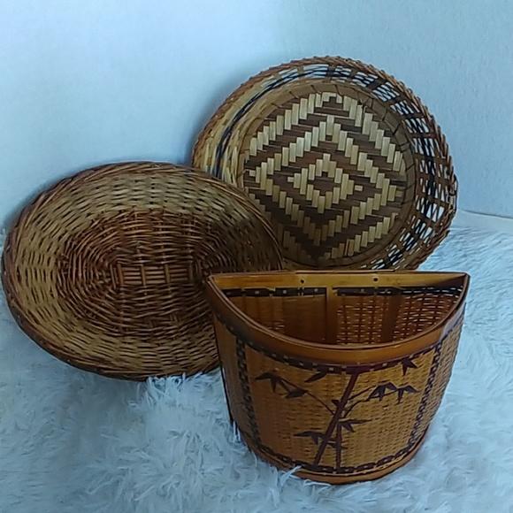 Vintage Other - 3 Vintage Wicker Rattan Bohemian Boho Baskets